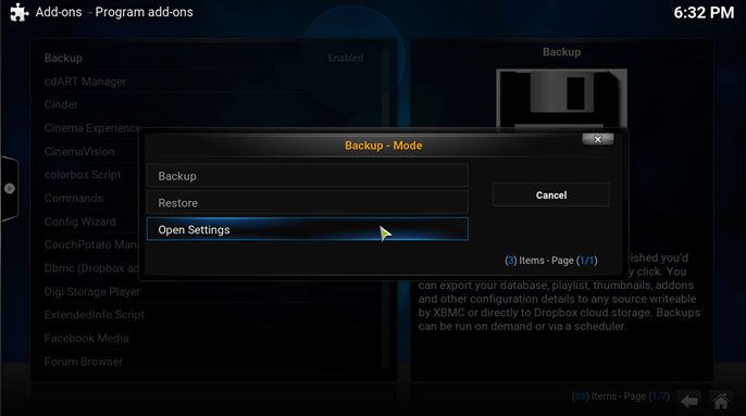 kodi backup addon open settings