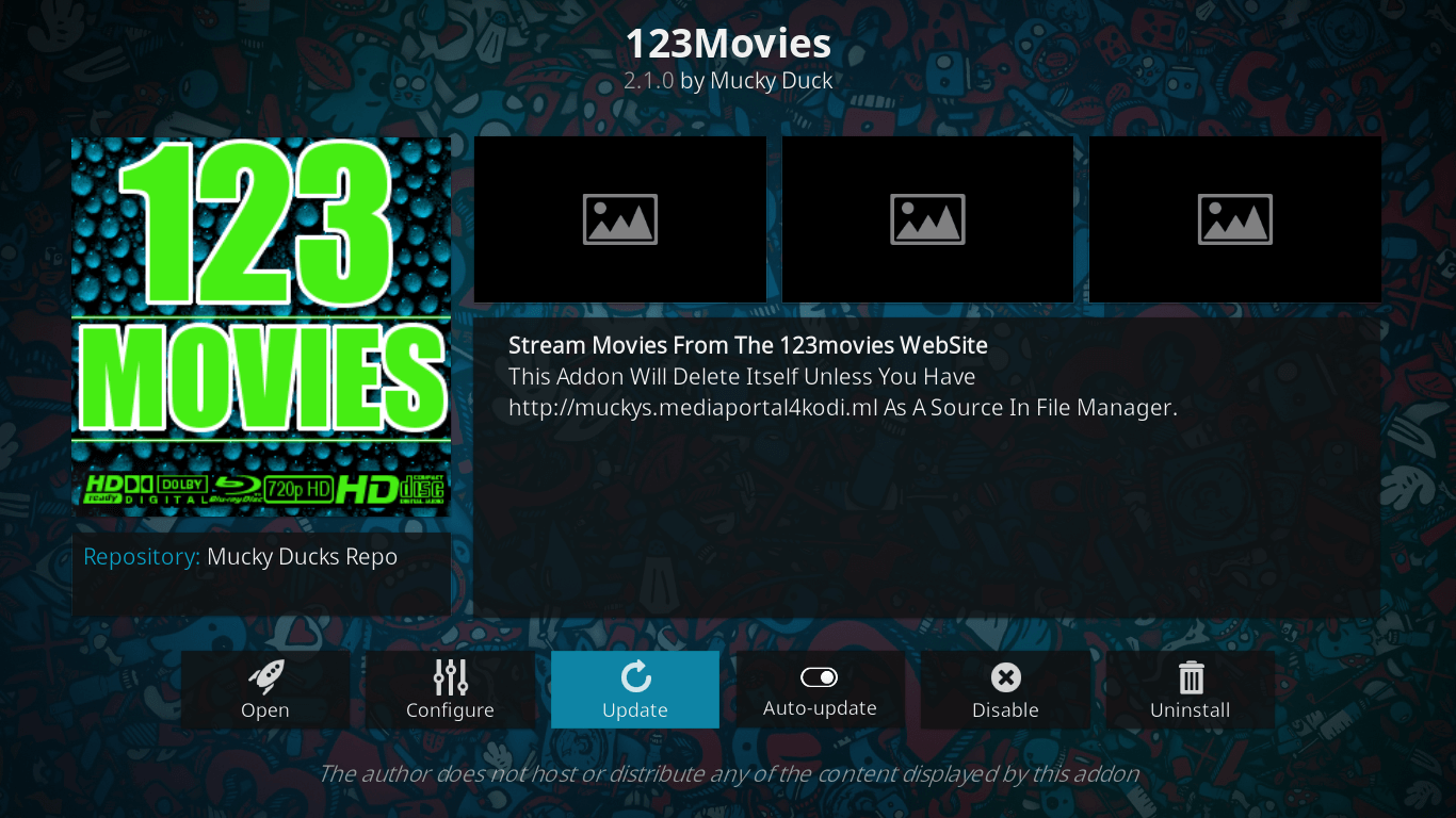 how to update 123movies addon