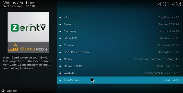zem tv on kodi