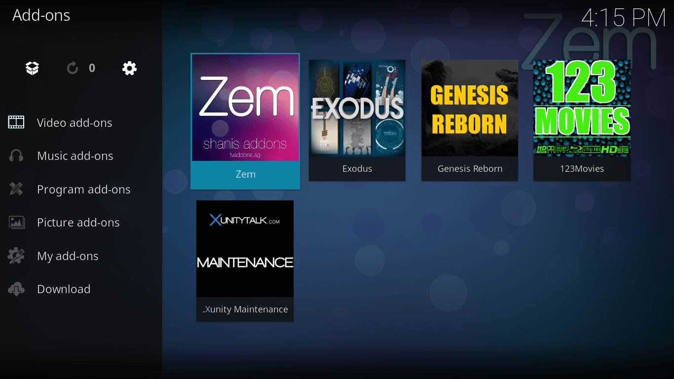 how to install zem on kodi jarvis version 16 or below