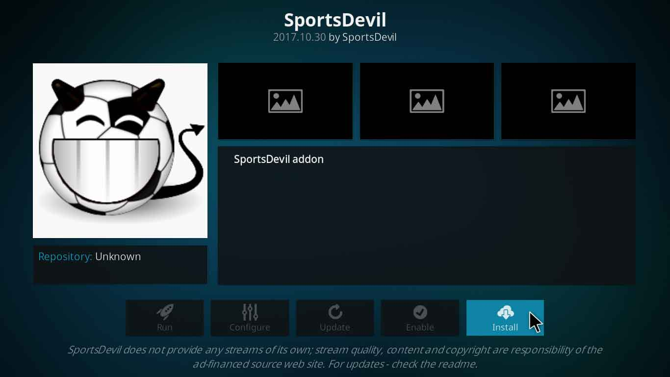 sportsdevil kodi addon final steps
