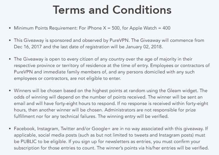 terms and conditions for iphone-x and apple watch purevpn giveaway