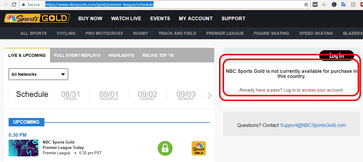 nbc not available outside USA to stream english premier league football