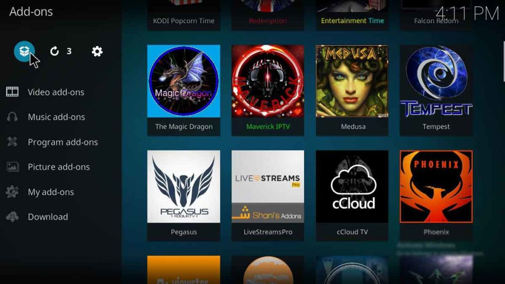 how to setup popcorn time addon on kodi