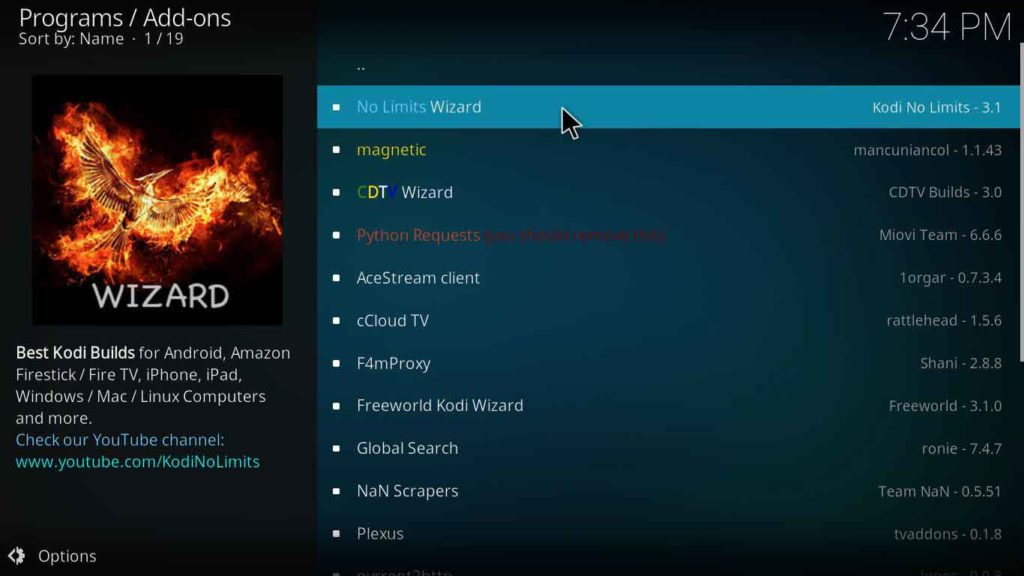 how to install Kodi no limits magic build on leia 18 version