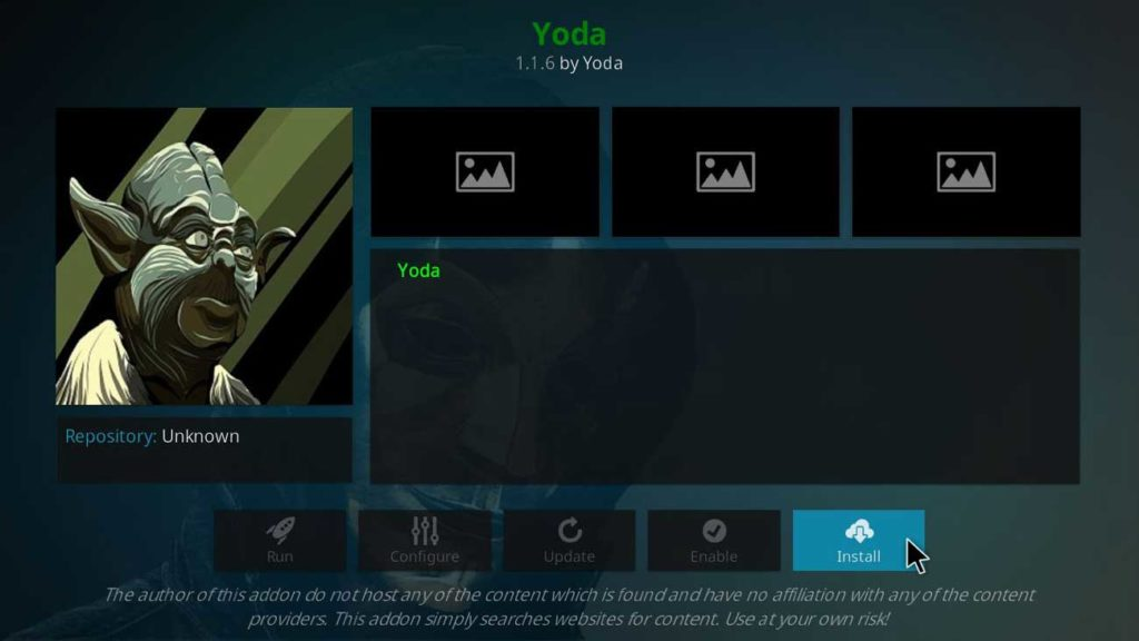 yoda addon for movies and tv shows