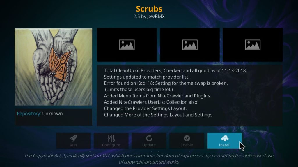 scrubs for movies, tv shows and documentary on kodi