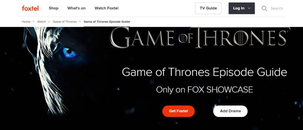 watch game of thrones on foxtel