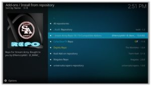 Install From Repository Stream Army Repo