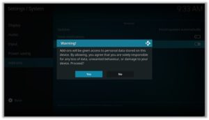 Message Prompt Unknown Sources Kodi