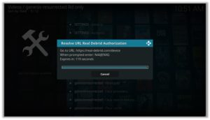 Genesis Addon Real Debrid Authorization Code