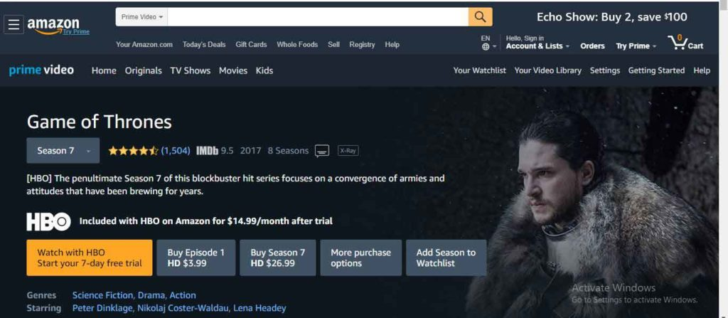 watch game of thrones season 8 on Amazon Prime Video