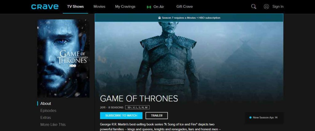 How to Watch Game of Thrones 8th Season in Canada
