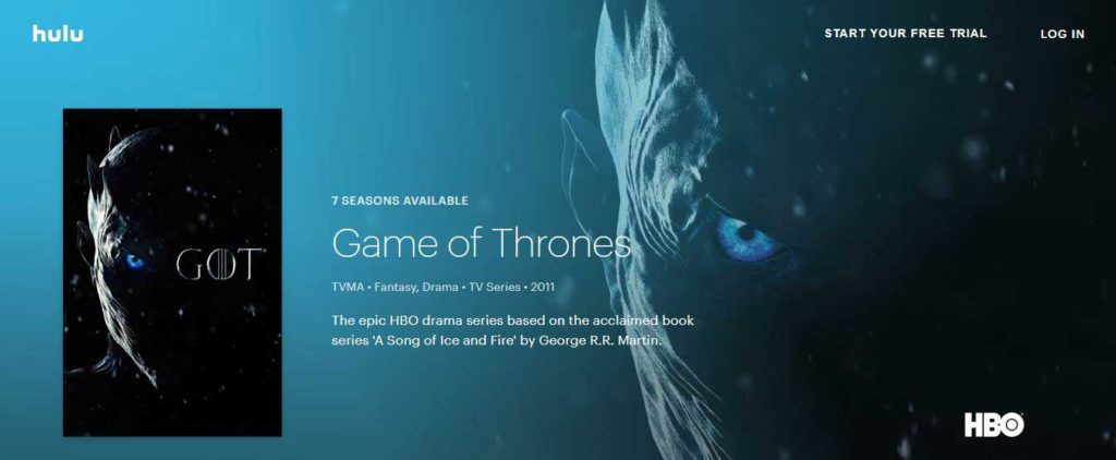 how to watch complete game of thrones season 8 on hulu for free